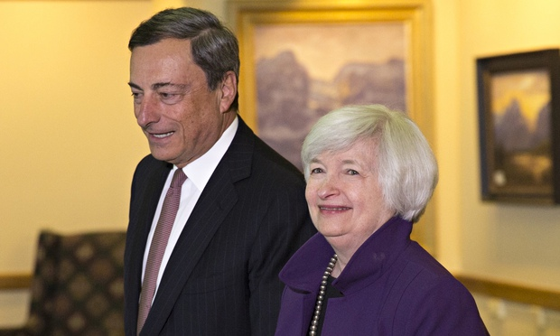 US Federal Reserve Chair Janet Yellen and ECB chief Mario Draghi at Jackson Hole conference