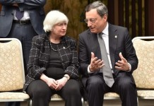 US Federal Reserve chair Janet Yellen and European Central Bank president Mario Draghi. Photo: AFP