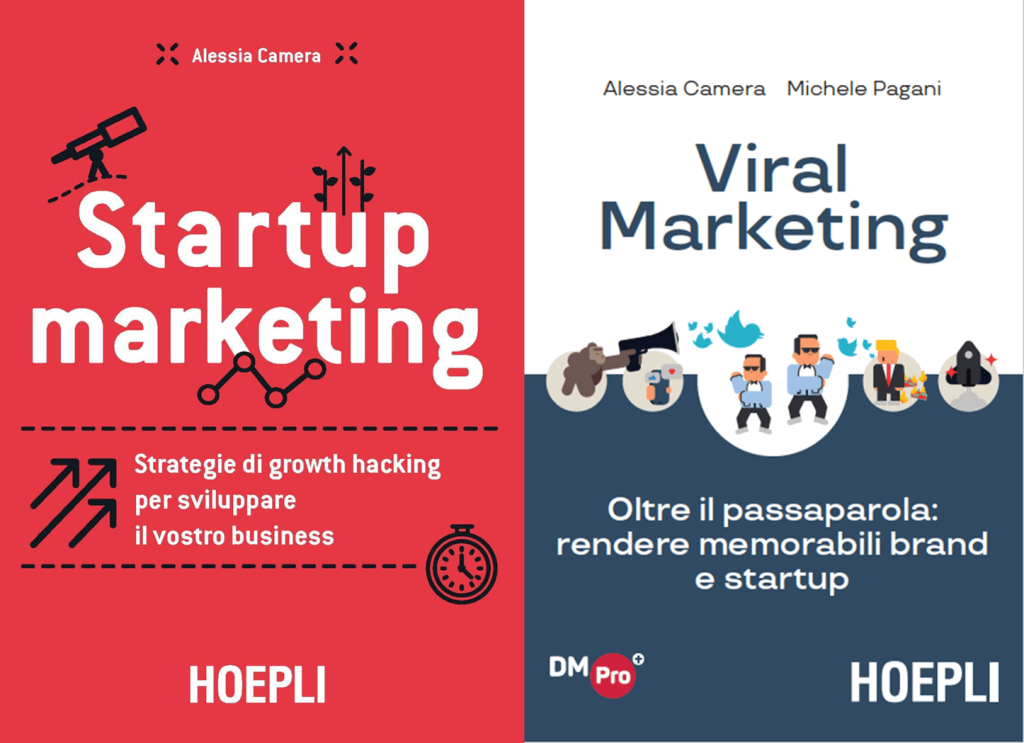 I libri pubblicati da Alessia Camera editi da Hoepli: Startup marketing e Viral Marketing, quest'ultimo assieme a Michele Pagani